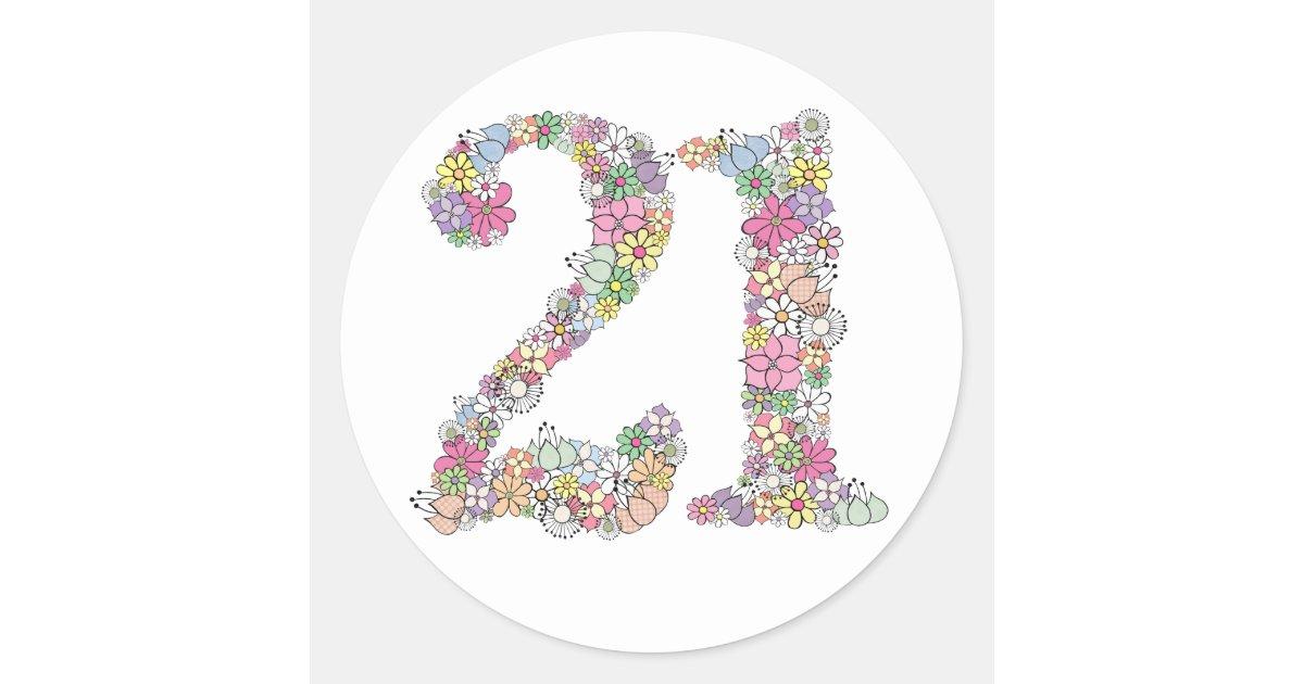 Floral Bouquet Number 21 Label Sticker Seal Zazzle