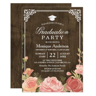 Floral Bouquet on Rustic Wood | Graduation Photo Card