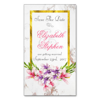 Floral Bouquet on White Marble Save the Date Business Card Magnet