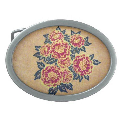 floral bouquet oval belt buckle