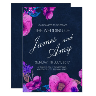 Floral Bouquet - Pink Purple - Wedding Invitation