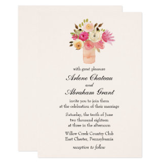 Floral Bouquet Pink Vase Wedding Invitation