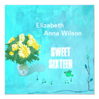Floral bouquet sweet sixteen birthday personalized announcement