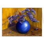 Floral Bouquet Thank You Card Blue, Purple, Gold