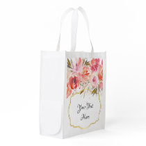 Floral Bouquet Watercolor Reusable Bag