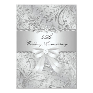 Floral & Bow 25th Wedding Anniversary Invite