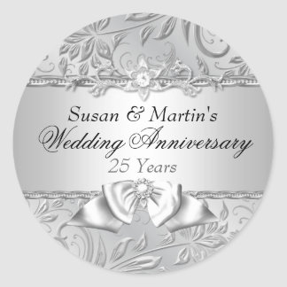 Floral & Bow 25th Wedding Anniversary Sticker
