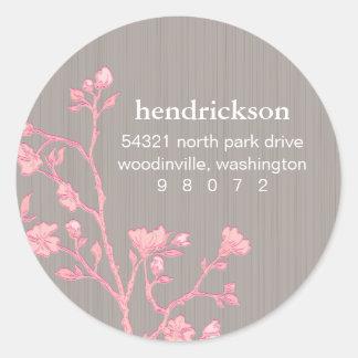 Floral Branch Round Address Label Classic Round Sticker
