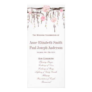 Floral branches pink Wedding Program
