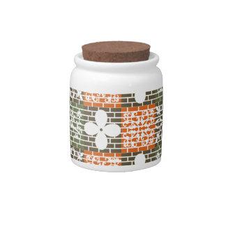 Floral Brick Pattern Candy Jars
