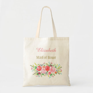 Floral Bridal Bridesmaid with Name Tote Bag