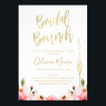 "Floral Bridal Brunch Bridal Shower Invitation<br><div class=""desc"">This bridal brunch bridal shower invitation features some floral watercolor roses images in various shades of pink and a tall elegant glass in a faux gold texture. The heading is a faux gold calligraphy font that can&#39;t be altered. Then background is white and the text is a gold color that...</div>"