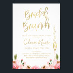 """Floral Bridal Brunch Bridal Shower Invitation<br><div class=""""desc"""">This bridal brunch bridal shower invitation features some floral watercolor roses images in various shades of pink and a tall elegant glass in a faux gold texture. The heading is a faux gold calligraphy font that can&#39;t be altered. Then background is white and the text is a gold color that...</div>"""
