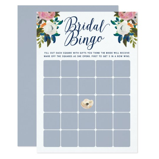 Bridal Shower Bingo Template | Floral Bridal Shower Bingo Cards Zazzle Com