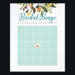 """Floral Bridal Shower Bingo Cards Robins Egg Blue<br><div class=""""desc"""">Flyer version of popular bridal shower game</div>"""