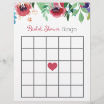 Floral Bridal Shower Bingo Game