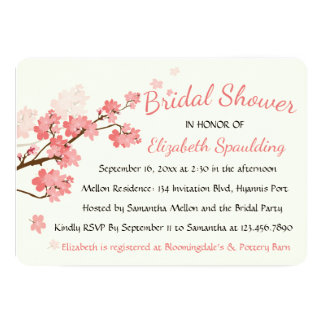 Floral Bridal Shower Cherry Blossoms Pink Flowers Card