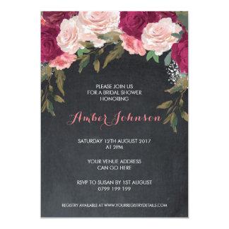 Floral bridal shower invitation chalkboard