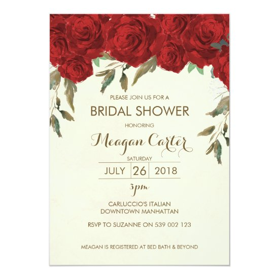 Floral bridal shower invitation ivory red roses