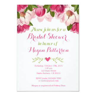 Floral Bridal Shower Invitation with Pink Magnolia