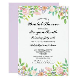 Floral Bridal Shower Lilac Flowers Invitations