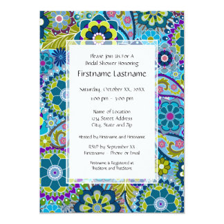 """Floral Bridal Shower or Engagement Party 5"""" X 7"""" Invitation Card"""