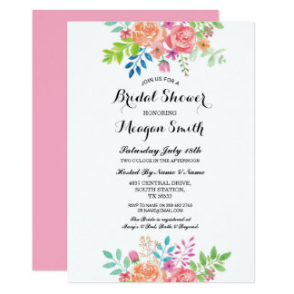 Floral Bridal Shower Pink Flowers Invitations