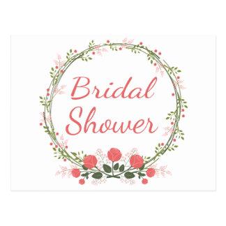 Floral Bridal Shower Pink Red Rose Wreath Postcard