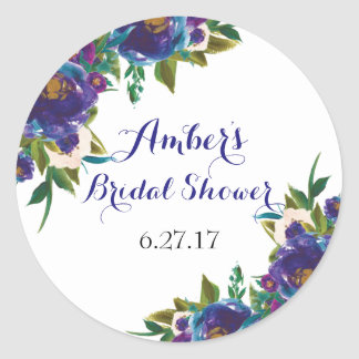 Floral Bridal Shower Round Stickers