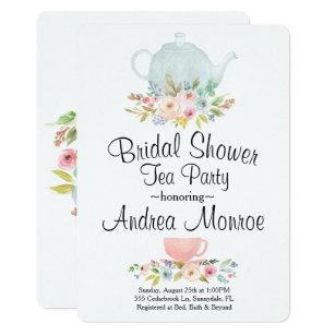 Tea bridal shower invitations zazzle floral bridal shower tea party custom invitation filmwisefo