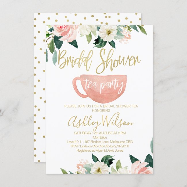 Floral Bridal Shower Tea Party Invitation