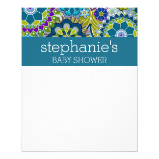 """Floral Bridal Shower Teal and Green Retro Flowers 4.5"""" X 5.6"""" Flyer"""