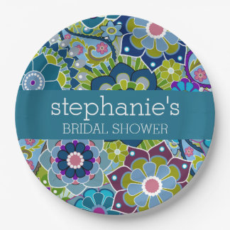 Floral Bridal Shower Teal and Green Retro Flowers 9 Inch Paper Plate