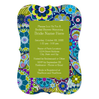 Floral Bridal Shower Teal and Green Retro Flowers Card