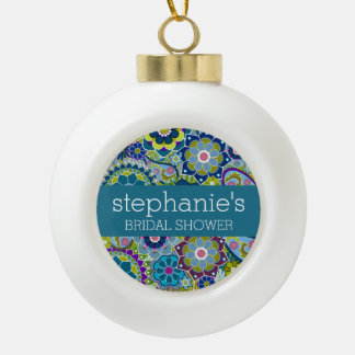 Floral Bridal Shower Teal and Green Retro Flowers Ceramic Ball Christmas Ornament