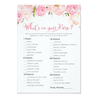 Floral Bridal Shower What's in Your Purse Card
