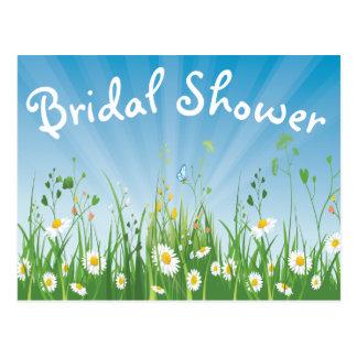 Floral Bridal Shower White Daisy Blue Invitation Postcard