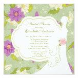 Floral Bride Bridal Shower Invitation Purple