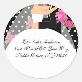 Floral Bride & Groom Address Sticker Pink