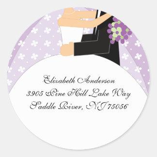 Floral Bride & Groom Address Sticker Purple