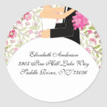 Floral Bride & Groom Address Sticker Turquoise