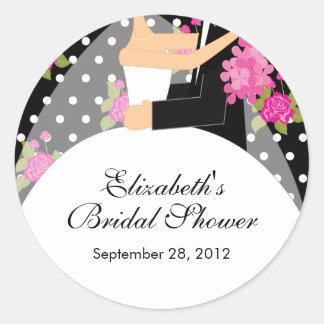 Floral Bride Groom Bridal Shower Sticker Pink