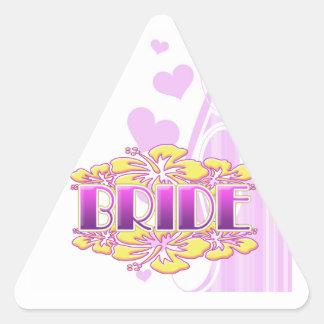 floral bride  wedding shower bridal party fun triangle sticker