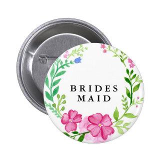 Floral Bridesmaid Wedding Pinback Button