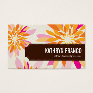 FLORAL bright modern dahlia yellow orange pink Business Card