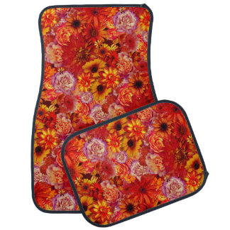 Floral Bright Rojo Bouquet Rich Red Hot Daisies Car Mat