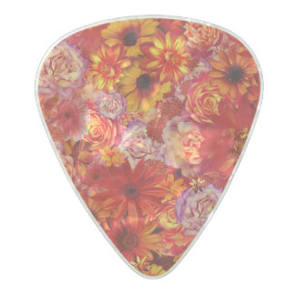 Floral Bright Rojo Bouquet Rich Red Hot Daisies Pearl Celluloid Guitar Pick