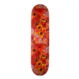 Floral Bright Rojo Bouquet Rich Red Hot Daisies Skateboard Deck
