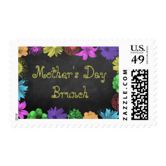 Floral Brights On Chalkboard Mother's Day Brunch Postage