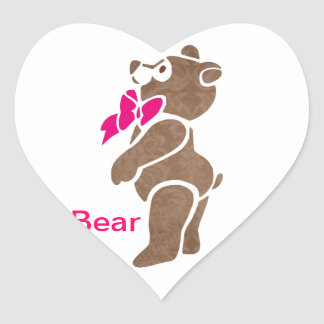 Floral Brown Bear with Pink Bow Tie Heart Sticker